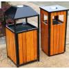 公园垃圾桶户外单筒垃圾箱 景区环卫学校室外钢木市政小区果皮箱