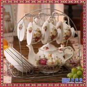 地中海风格陶瓷咖啡具 简约欧式家用咖啡具套装带碟子