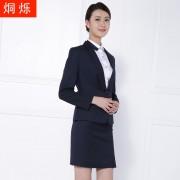 湖南藏青条纹女装套装西裤女西裙