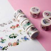来图定制色彩鲜艳漂亮鲜花系列手工DIY装饰手帐胶带