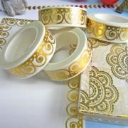 来图定制小清新烫金花纹手工DIY装饰手帐胶带