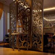 酒店屏风镜面玫瑰金黑钛金不锈钢屏风隔断室内装饰不锈钢背景墙