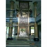 佛山厂家定做酒店大厅餐厅中式高档拉丝玫瑰金镂空花格不锈钢屏风