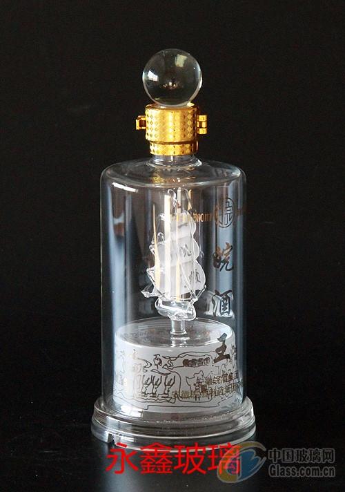 直管帆船白酒瓶手工艺吹制高硼硅玻璃白酒瓶定制