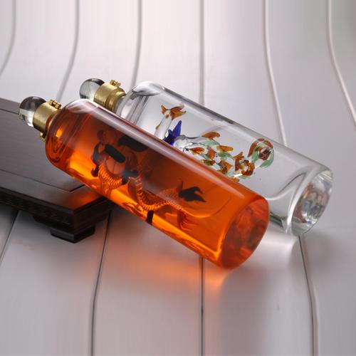 定制玻璃白酒瓶大龙酒瓶手工艺吹制内套大龙直管酒瓶
