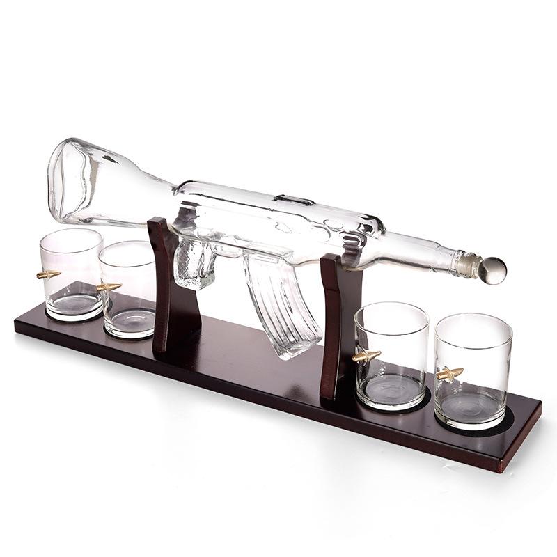 AK47大枪造型伏特加朗姆酒瓶红酒醒酒器玻璃器皿手工酒瓶