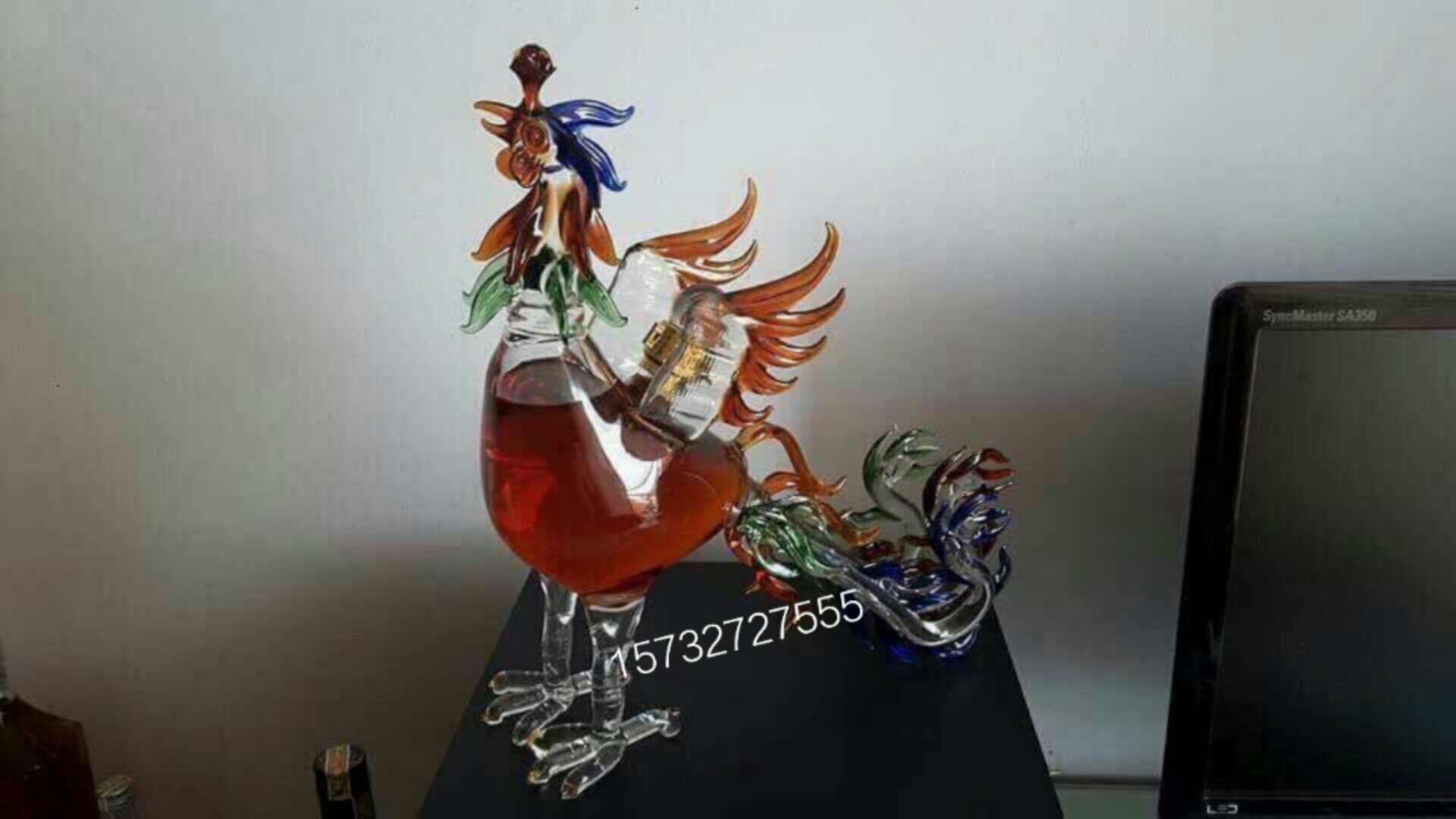 凤凰造型内置玻璃酒瓶个性玻璃白酒瓶手工凤凰玻璃威士忌酒瓶