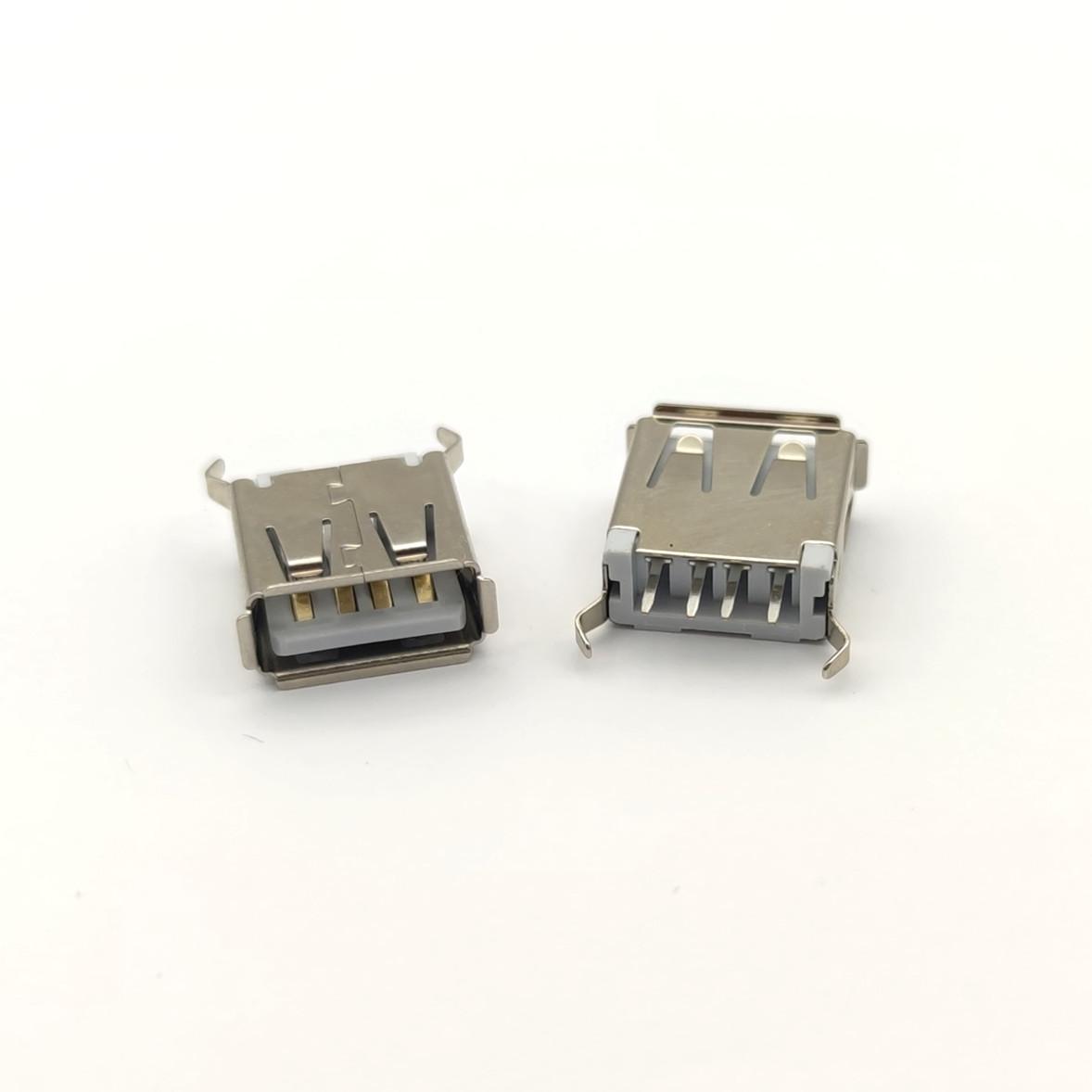 USB母座 4p 立式直插 180度 弯脚 白胶 卷边