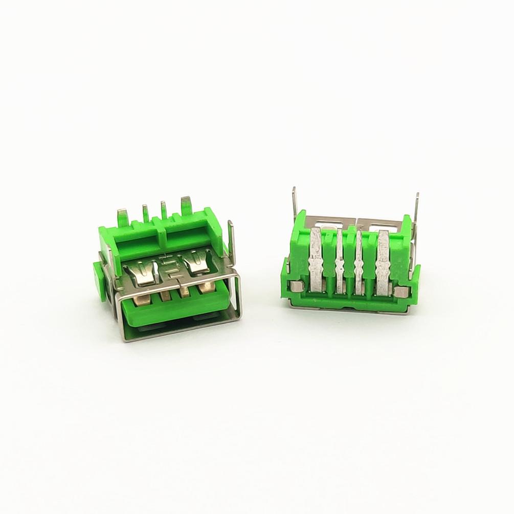 USB母座 4p 卧式 加高 大电流 绿胶
