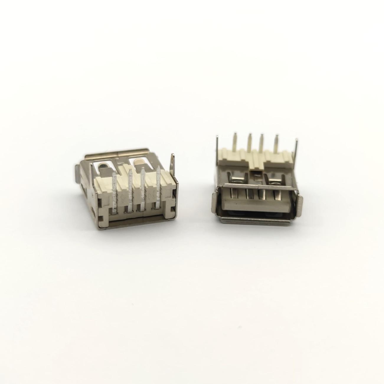 USB母座 4p 卧式 加高 米白色 卷边
