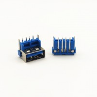 USB母座 4p 卧式 加高 鱼叉脚 蓝胶