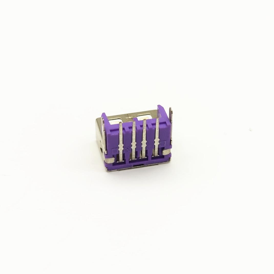 USB母座 4p 卧式 加高 鱼叉脚 紫胶