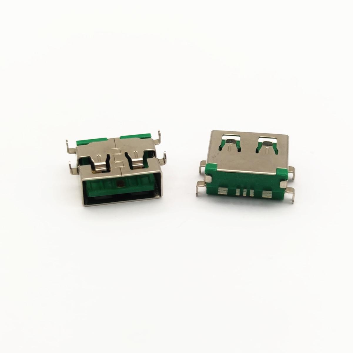 USB母座 5p 沉板式 四脚插板 直边 大电流 绿胶