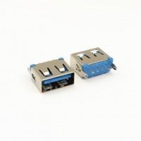 USB母座 5p 短体10.0 立式插板 鱼叉脚 蓝色