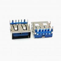 USB母座 5p 短体13.0 大电流 沉板式 四脚插板蓝色